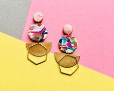Statement Geometric Earrings. Unique. Colourful. Half Circle. Hexagon. Funky. Quirky. Boho Earrings. Brass Earrings. Party Earrings.