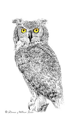 Great Horned Owl Ink Drawing Embellished MiniPrint. $5.25, via Etsy.