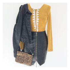 Electric Warrior Bodysuit • Little Leather Zip Skirt • Grey Western Denim Jacket •  Little-Lies.com