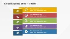 SlideModel.com | 5 Items Ribbon Agenda Slide Template for PowerPoint is a creative layout design for PowerPoint that you can use to make presentation agenda slides. Inside