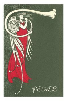Wonderful Art Deco/Art Nouveau graphics! Peace, Angel Blowing Trumpet