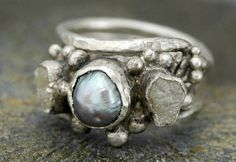Diamond and Pearl Engagement Ring with Sterling Silver Wedding Band- Hammered Texture- Custom Made $475.00