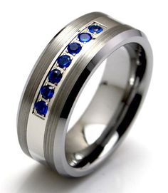 Men's Ring, Men's Wedding Band   Silver Tungsten & Blue