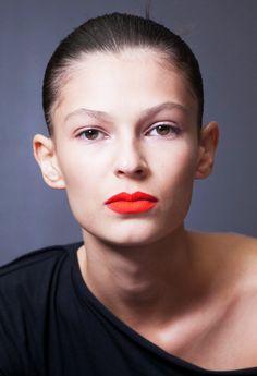 Orangey Red Lips & Neutral eye MakeupTrend for Spring Summer 2013.  Paul Smith Spring Summer 2013.   #makeup #trends