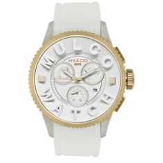 Buy Mulco POST MWATCH 3D COLLECTION Chronograph Unisex Watch MW3-10302-012 new - Gold-tone steel and IPB case. White silicon strap. White dial. Swiss quartz movement. Chronograph. Date. Water resistant 50 meters. Case...