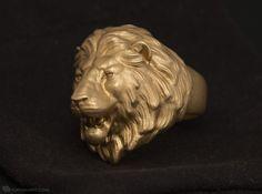 Lion Ring 3d printed Raw brass