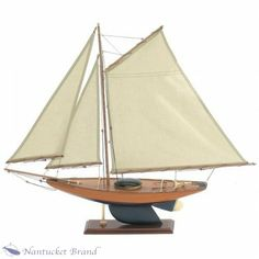 "Large Bermuda ship model It measures 47"" tall, 48"" long, and 8.5"" wide. It weighs just 9 lbs. Made of wood, with multiple canvas sails"