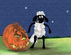 """just a silly painting for Halloween! (Art me, """"Shaun The Sheep"""" characters © Copyright Aardman) Shaun's Halloween Funny Sheep, Halloween Drawings, Shaun The Sheep, A Pumpkin, Trick Or Treat, Witches, Artsy, Carving, Deviantart"""
