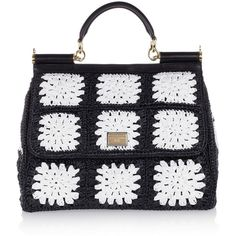 Dolce & Gabbana The Sicily crocheted tote (2.845 BRL) ❤ liked on Polyvore featuring bags, handbags, tote bags, leather tote purse, crochet purse, tote handbags, leather tote and leather tote handbags