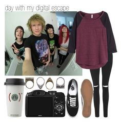 """Day with My Digital Escape"" by alltimethea03 ❤ liked on Polyvore featuring Topshop, H&M, Vans and Pull&Bear"
