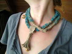 Funky - Crocheted wrapped necklace