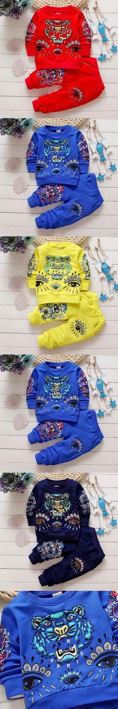 2016 Fashion Autumn Children Clothes Suits Boy Baby Tiger Blouse + pants kids Tracksuits Boys Girls Sweat Suits girls sport set