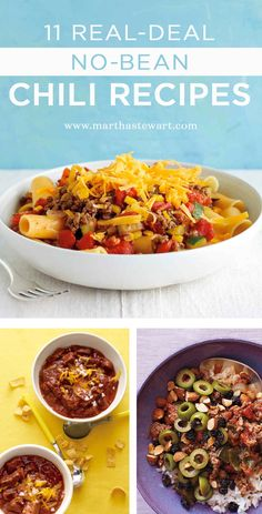 11 Real-Deal No-Bean Chili Recipes | Martha Stewart Living - Many Texans (who invented chili) consider it a sacrilige to add beans in the dish. Chili, in its purest definition, consists of beef and, well, chiles or chile powder. We're going to take some liberties on that definition but hold true to the no-bean zone. If you're the type of person who always eats around the beans, you a) might be Texan at heart and b) will love these no-bean chili recipes.