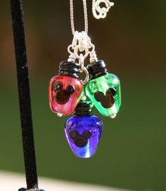 Christmas Lights Mickey Mouse Glass Necklace