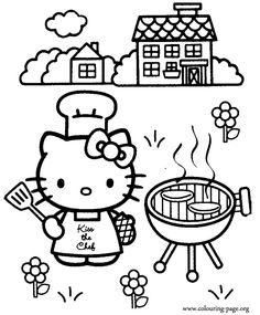 Hey! Looks like that Hello Kitty is cooking a barbecue! These burgers are very good looking!