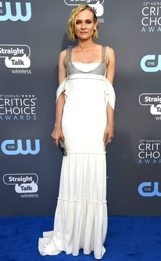 Diane Kruger from 2018 Critics' Choice Awards Red Carpet Fashion Before posing for photos with Norman Reedus, the star shows off her Vera Wang gown.