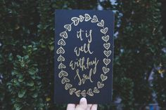 Hand Lettered // Hand Written // Gold Lettered // It is well with my soul // Moleskine Black Ruled Journal // Wreath // Prayer Journal