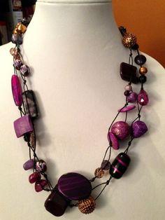 Bohemian Beaded Necklace  Purple Tones by TrishAnnes.com $22.50