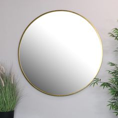 Extra large sized round wall mirror with black round metal frame. Chic retro and industrial themed wall mirror. Perfect for the modern, contemporary styled home interior. Offering a minimalist design with monochrome style wall mirror. Gold Frame Wall, Gold Framed Mirror, Black Wall Mirror, Frames On Wall, Diy Frame, Framed Wall, Large Round Wall Mirror, Round Mirrors, Hallway Mirror