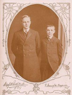 Luís Filipe, Prince Royal of Portugal and Infante Manuel, Duke of Beja, 1907.