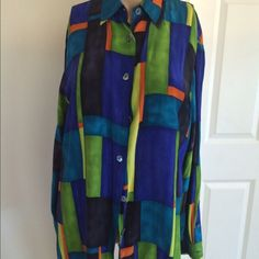 Danna & Karen Shirt 🌷 Silk multi colored.    Please view my entire closet. Most of what I have are Brand Name items listed at over 70% OFF its original price. Most of what I offer are Brand New, Never worn Items. Most items that are not new are still in great condition. You will get a great deal on any of the 400 plus items I have listed.  Thank you! Danna & Karen Tops Button Down Shirts