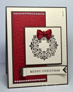 FMS58 - Wreath with bow by jentimko - Cards and Paper Crafts at Splitcoaststampers