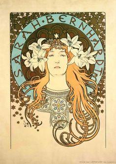 """Sarah Bernhardt as La Princesse Lointaine: poster for 'La Plume' magazine"" Alphonse Maria Mucha"