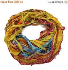 SALE New! Premium Sari Silk Chiffon Printed Ribbon , 100g .