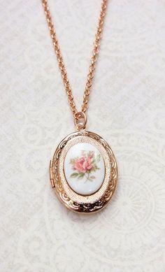 Rose Gold Locket Necklace Oval Locket Pink Rose