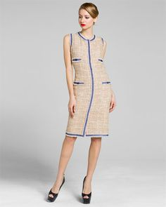 Chanel Beige Tweed Sleeveless Dress with Periwinkle Trim
