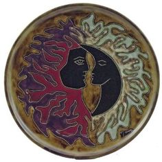 "MARA STONEWARE COLLECTION - 12"" Round Collectible & Functional Plate - Sun & Moon Face Celestial Design"