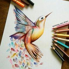 tattoo designs 2019 Awesome Hummingbird Tattoo Design tattoo designs 2019 Fantastic realistic colorful drawing of the hummingbird. Pretty Drawings, Bird Drawings, Pencil Art Drawings, Colorful Drawings, Art Drawings Sketches, Animal Drawings, Cool Drawings, Drawing Animals, Beautiful Drawings