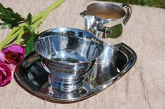 Silver Plate Creamer and Sugar Set with by CobblestonesVintage, $19.00
