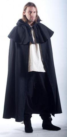 Cloak, Mantle with long hood, metal clasp