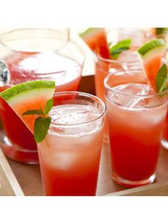 Watermelon Sparkling Lemonade Ingredients: Watermelon, lemonade, sprite, ice,  lime. Instructions: 1. In a large pitcher pour the sprite, lemonade and (after squeezing)--it sounds wrong--watermelon juice 2. Put (about 2 teaspoons) of lime and the ice 3. Stir ENJOY!