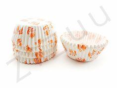 150 pirottini tondi a rose arancioni con base 50mm #pirottini #ZiZuu