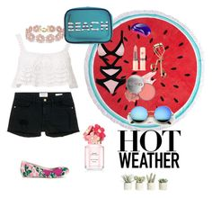 """""""beach outfit"""" by amazingsritanvi ❤ liked on Polyvore featuring Beauty & The Beach, Frame Denim, Dorothy Perkins, Tangle Teezer, CARGO, Tweezerman, Agent Provocateur, Marc Jacobs, BaubleBar and Vivienne Westwood Anglomania + Melissa"""