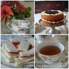 A Very Proper High Tea by Sybaritic Pleasures! Blackberry Cream Cake,  Scones with Clotted Cream and Berry Jam, Butter Biscuits, and Savoury Sandwiches - in ONE post!
