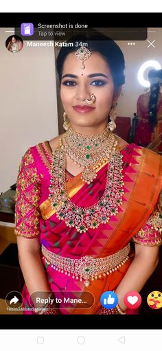 Indian Bridal Sarees, Indian Bridal Fashion, South Indian Bride Jewellery, Diamond Brooch, Diamond Bangle, Diamond Jewellery, Indian Gowns Dresses, Blouse Designs, Emerald Necklace