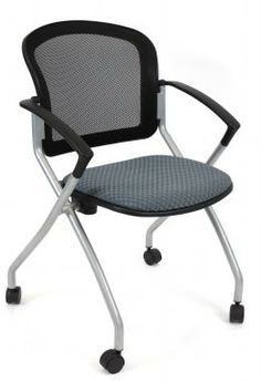 RFM Link 150 Series nesting office chairs with mesh back in black or can be upholstered in any fabric