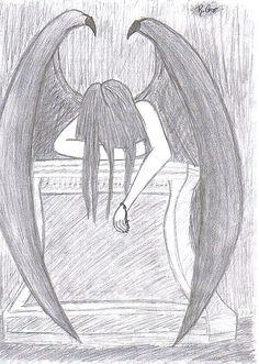 Angels Drawings | Fallen Angel - Drawing by XxmygenerationxX