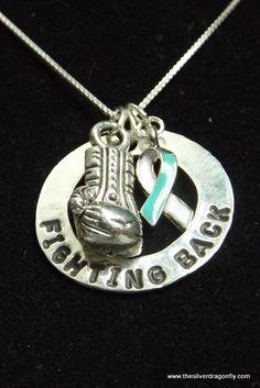 Cervical Cancer Awareness necklace, Cervical Cancer Ribbon necklace, Cervical Cancer, Teal and white ribbon, Cancer Awareness, Fighting back by silverdragonfly260 on Etsy https://www.etsy.com/listing/221689928/cervical-cancer-awareness-necklace