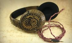 Steampunk bronze headphones with gears and by ArmorHamsterWorkshop