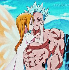Elaine y ban Seven Deadly Sins Anime, 7 Deadly Sins, Blue Exorcist Anime, Hero Academia Characters, Fictional Characters, Retro Art, Attack On Titan, Anime Couples, Ships