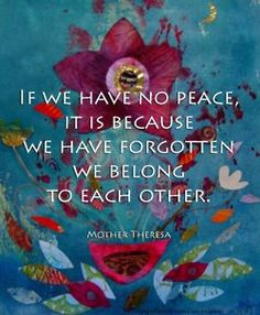 if we have no peace, it is because we have forgotten we belong to each other - mother theresa