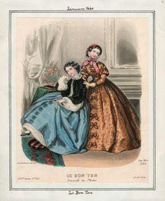 In the Swan's Shadow: Le Bon Ton, January 1860  Civil War Era Fashion Plate