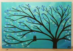 Teal & Turquoise 30 x 20 Whimsical Tree Art Painting - Two Birds in a Tree, Abstract Circle Blossoms in Blue, Silver, White, Teal