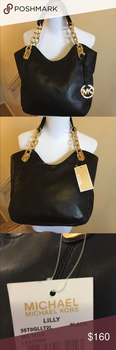 nwt michael kors Lily Black Gold Brand new with tags  Black leather lily tote shoulder bag  10 x 11 x 4 Michael Kors Bags Shoulder Bags