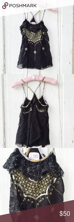 Free People Ruffles & Sequin Tank ★ EUC ★ Measurements available upon request ★ Reasonable Offers Accepted  ★ No Trades ★ No Modeling Free People Tops Tank Tops
