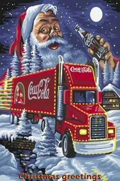 Santa and Coca-Cola Coca Cola Christmas, Christmas Truck, Christmas Scenes, Christmas Art, Coca Cola Poster, Coca Cola Ad, Always Coca Cola, Coke Ad, Coca Cola Vintage